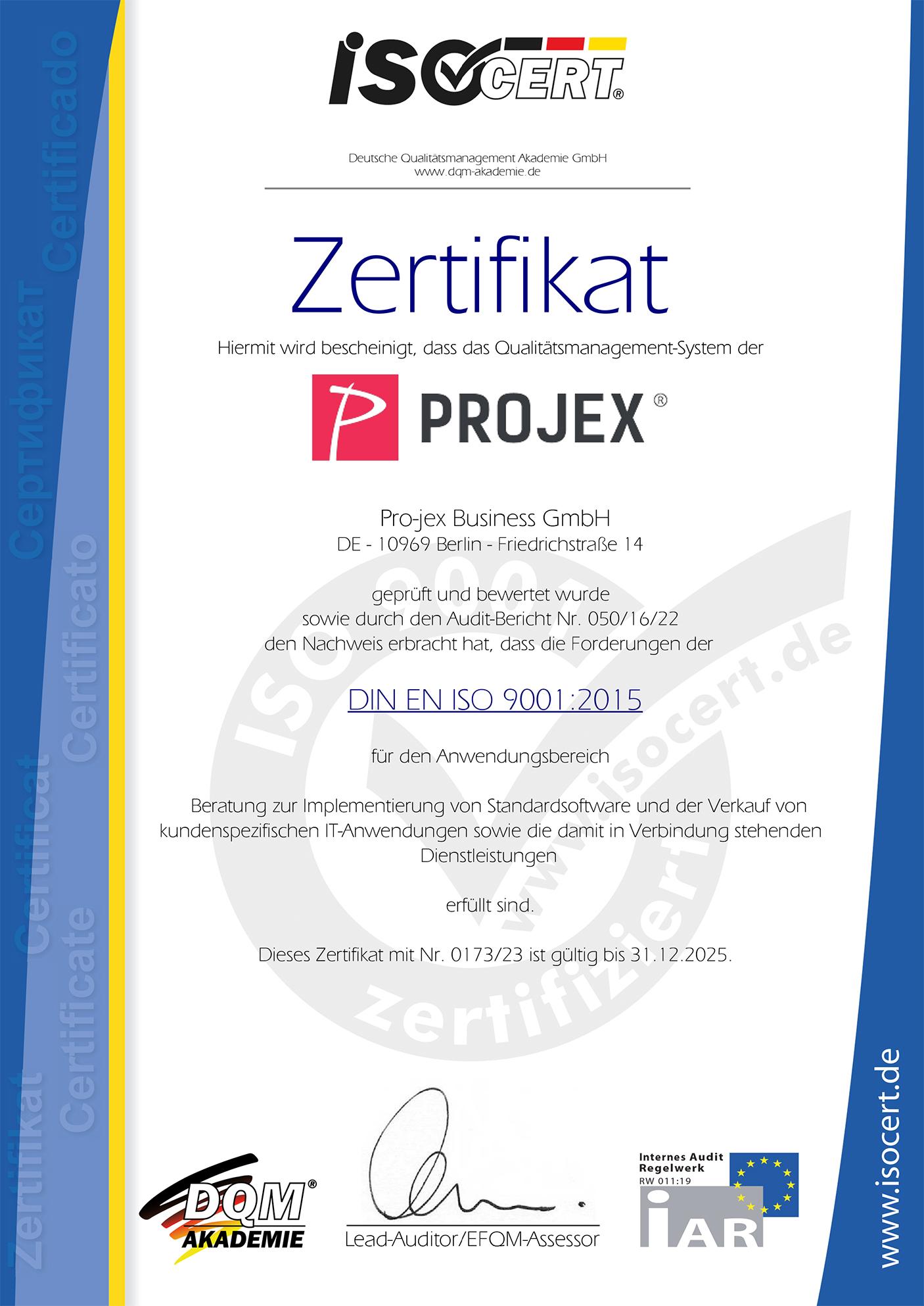 Projex ISO Zertifikat