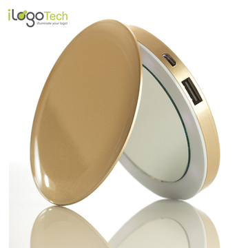 iLogoTech Power Compact Kosmetikspiegel PowerBank 3000mAh, Gold